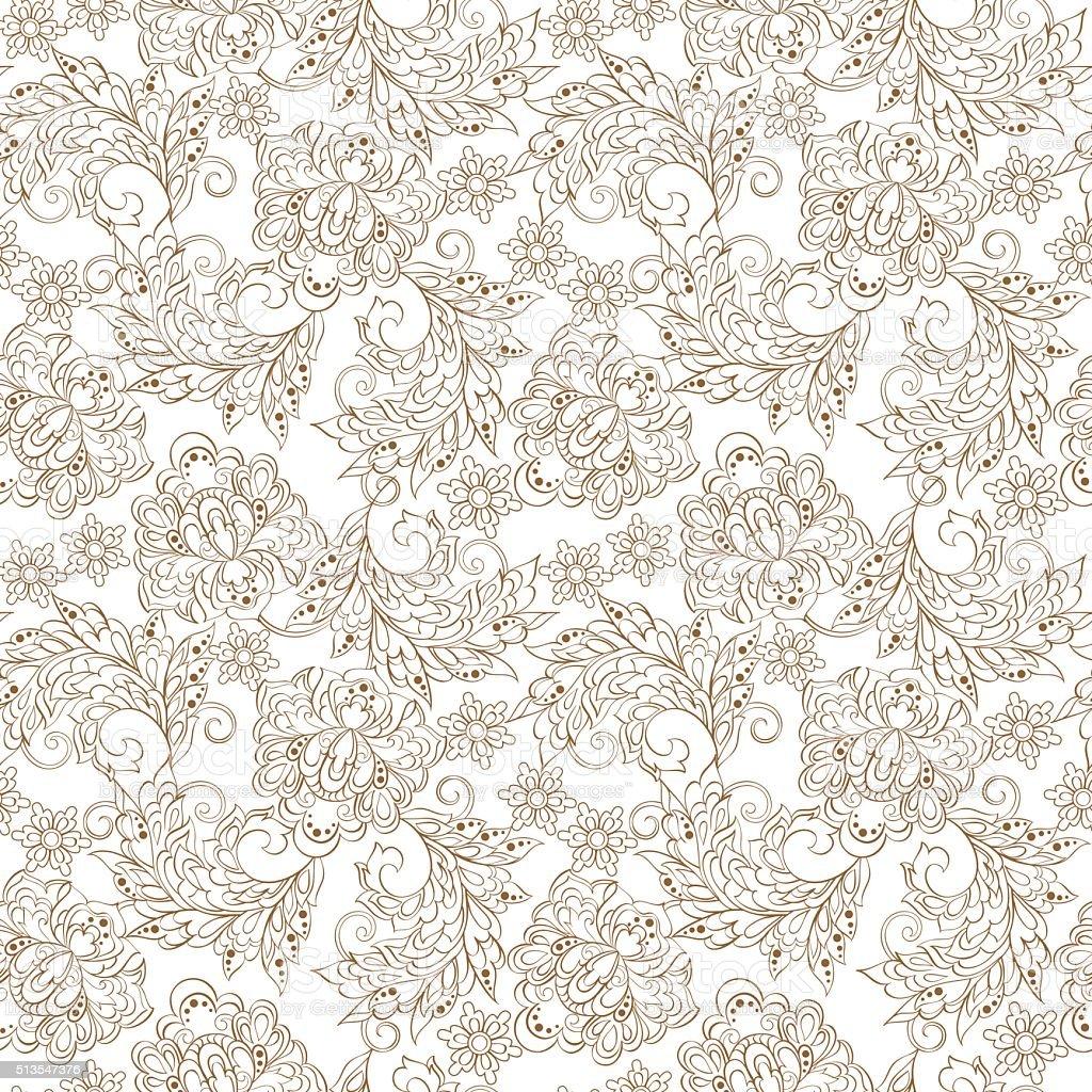 Floral Pattern In Indian Batik Style Stock Vector Art