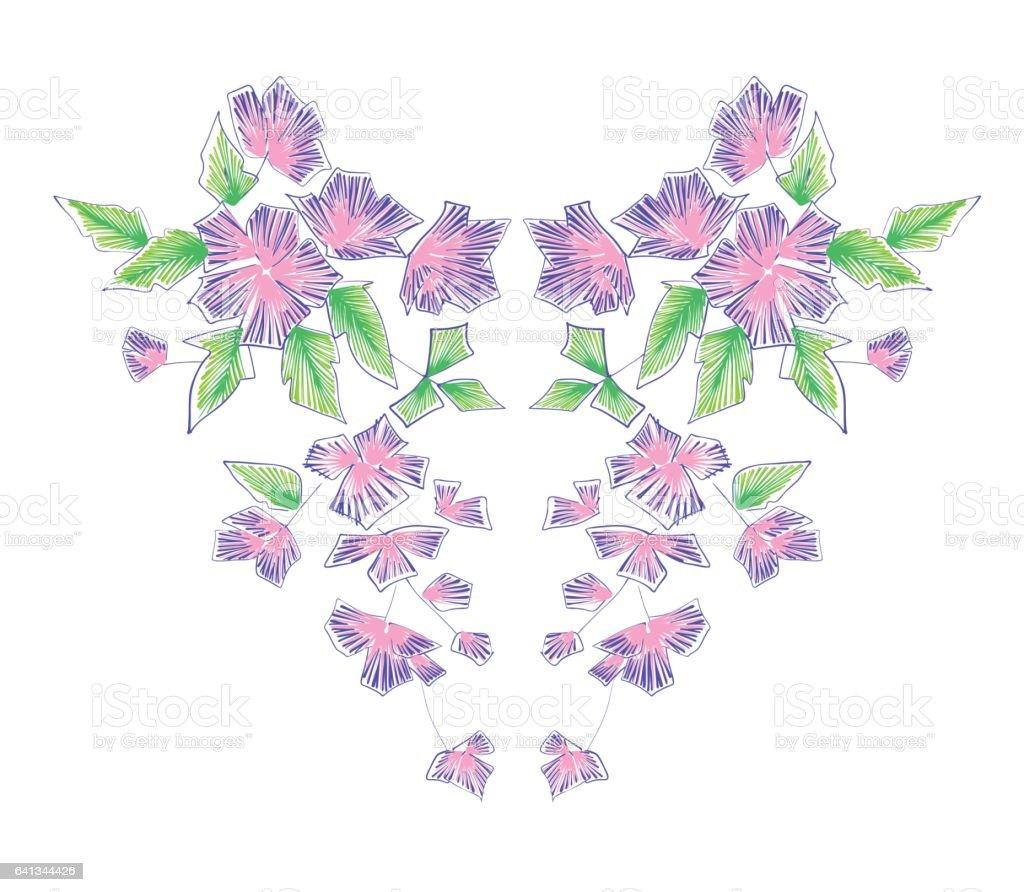 Ilustración de Patrón Floral Diseños De La Línea Del Cuello Dibujado ...
