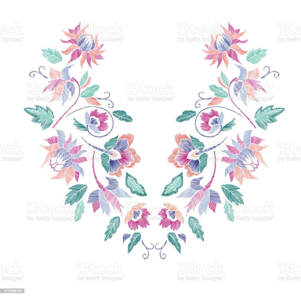 Patrón Floral Diseños De La Línea Del Cuello Dibujado A Mano ...