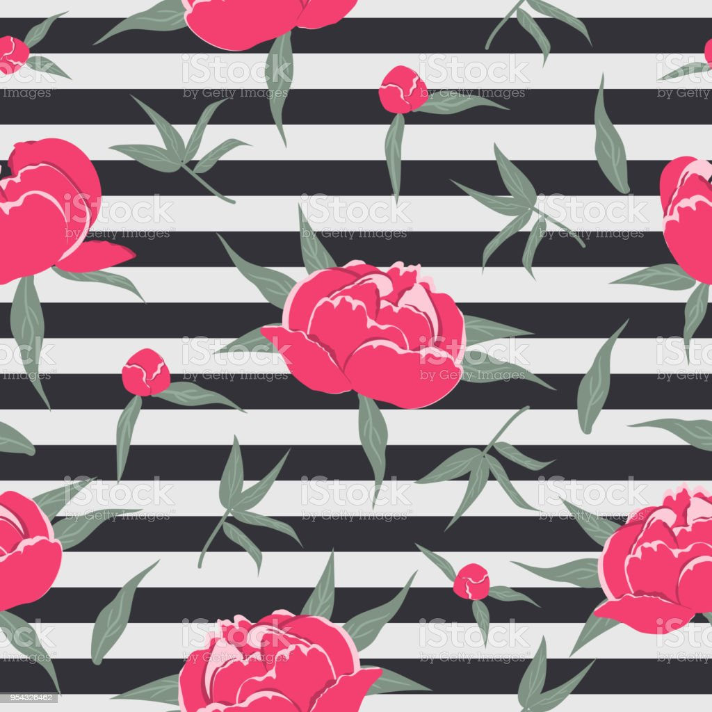 Floral Pattern On A Striped Background Stock Vector Art More