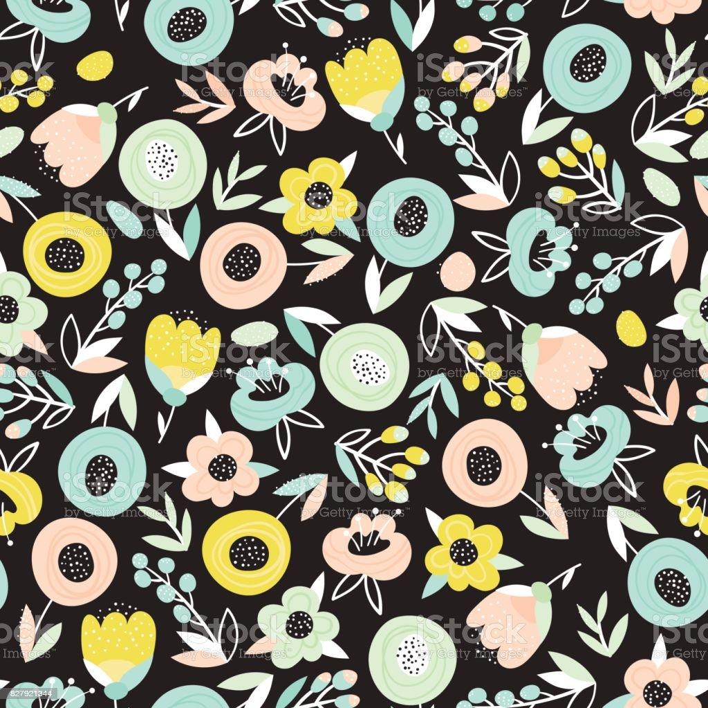 Floral Pattern On Black Background Stock Illustration Download