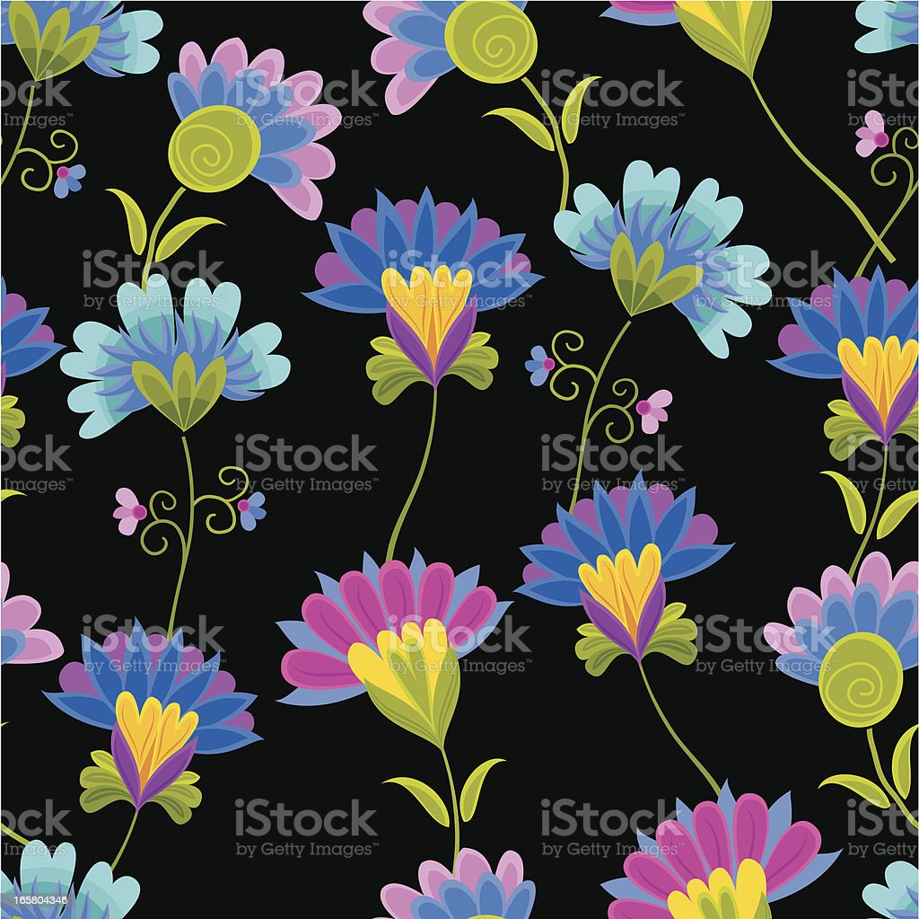 Floral Pattern on Black vector art illustration