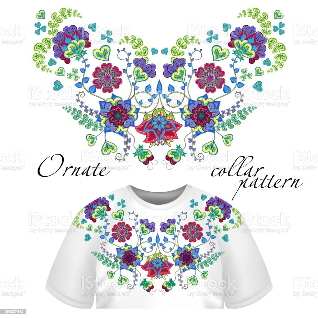 Floral Pattern On Collar Neck Print Abstract Hand Drawing Flowers ...