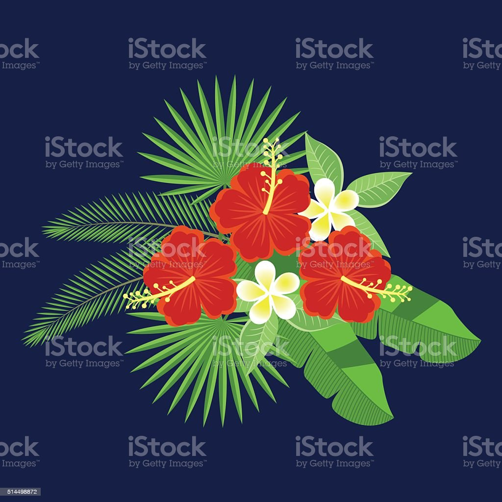 Floral pattern. plumeria and hibiscus. vector art illustration