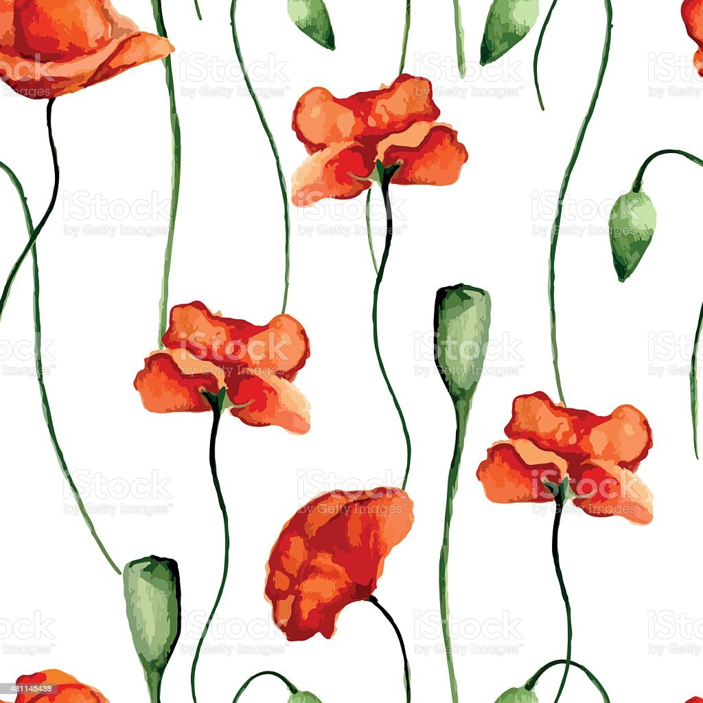 Floral pattern. Poppies vector art illustration