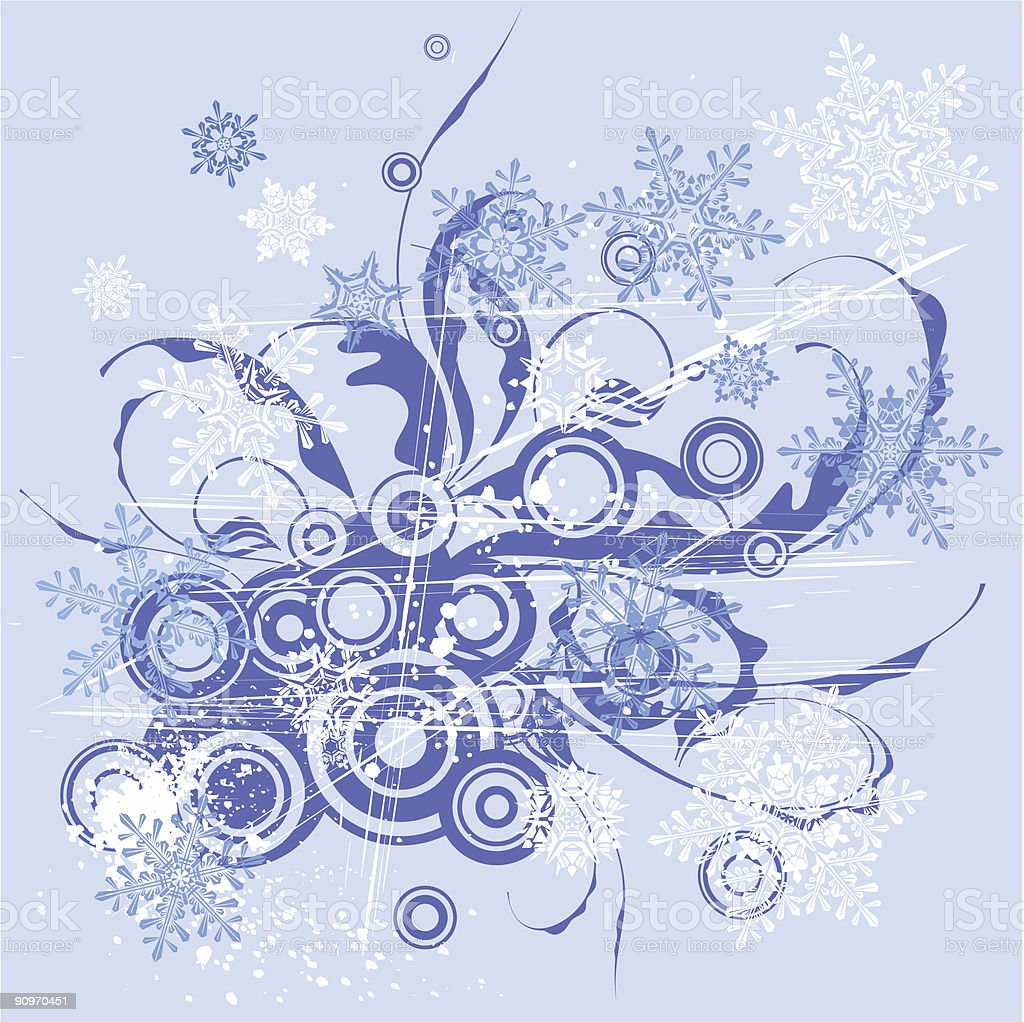 floral pattern & snowflakes royalty-free stock vector art