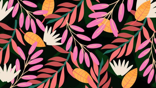 ilustraciones, imágenes clip art, dibujos animados e iconos de stock de patrón floral, fondo primavera verano - moda de verano