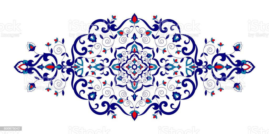 Floral Pattern Vector Element Turkish Spa Ornament With