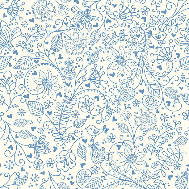 Floral pattern . Vector seamless pattern with flowers. Hihg res jpg included . AI10-compatible EPS. bird backgrounds stock illustrations