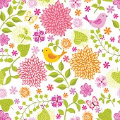 Vector seamless pattern with flowers. Hihg res jpg included .