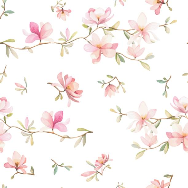 Floral pattern Watercolor flowers seamless pattern. Pink flowers and leafs. Beautiful background single flower stock illustrations