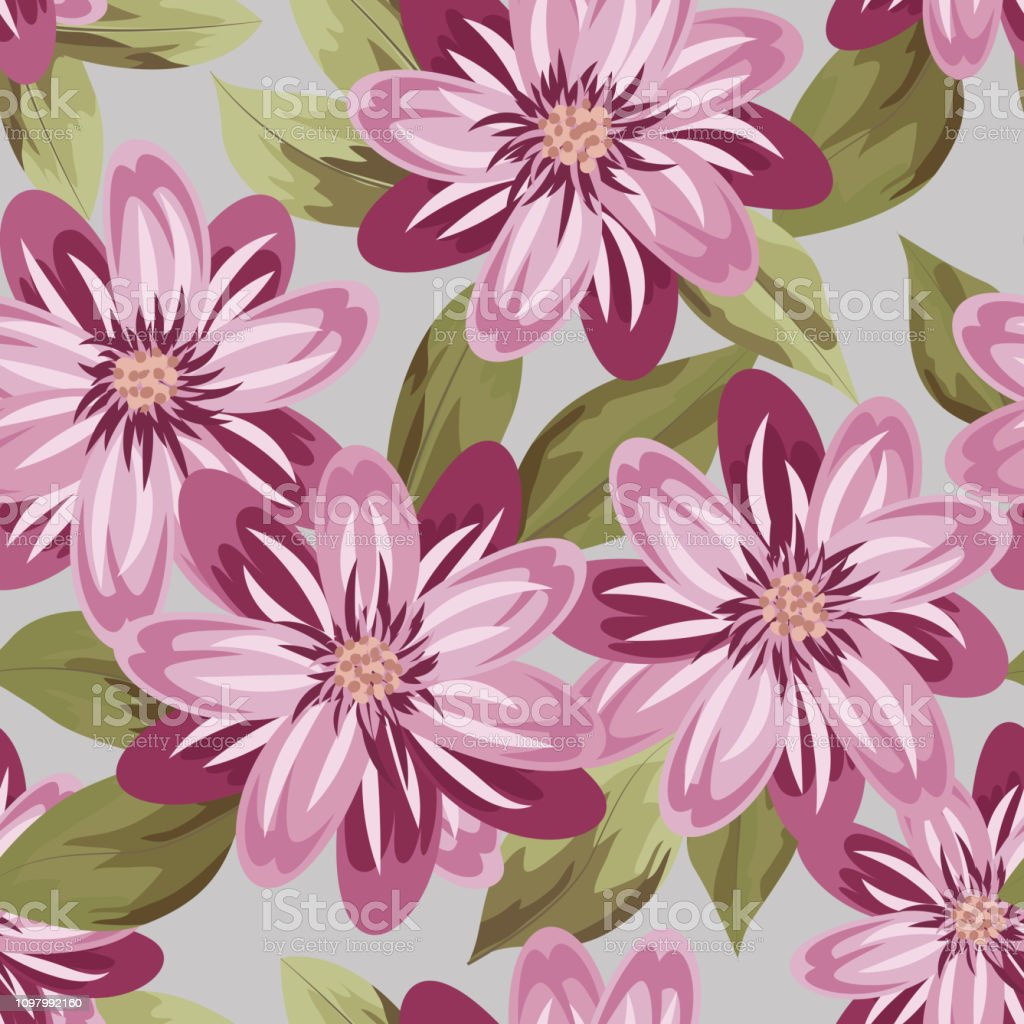 Floral Pattern Wedding Print Retro Flowers Background Rustic