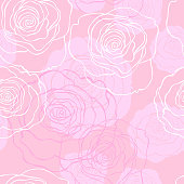 Floral background. Seamless vector pattern with hand drawn flowers and leaves