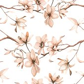 Seamless floral pattern with magnolia in watercolor style