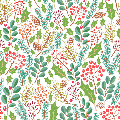 Floral pattern with pine branches, cones,  holly