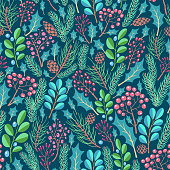 istock Floral pattern with pine branches, cones,  holly 1284091431
