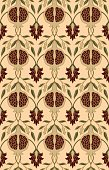 Rich floral pattern. Seamless vector ornament with pomegranate. Stylized template for wallpaper, textile, linen, shawl, carpet and any surface.