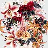 Floral pattern with roses and lily in watercolor style vector illustration