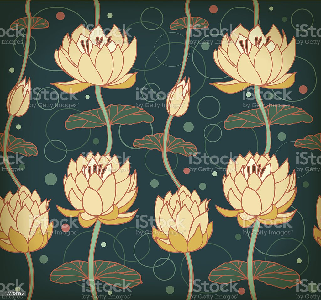Floral pattern with water lilies. Seamless nenuphar cute backdrop royalty-free stock vector art