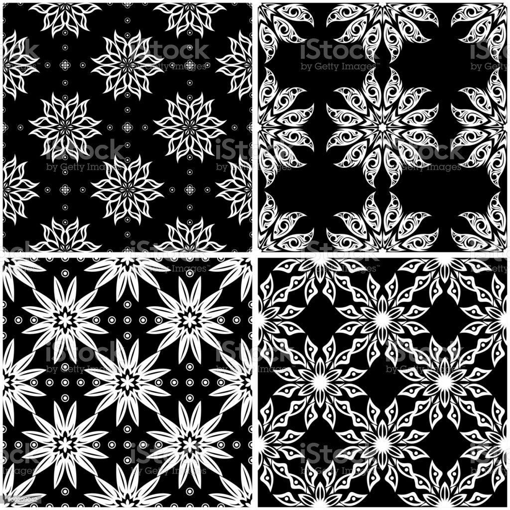 Floral Patterns Set Of Black And White Seamless Backgrounds Stock