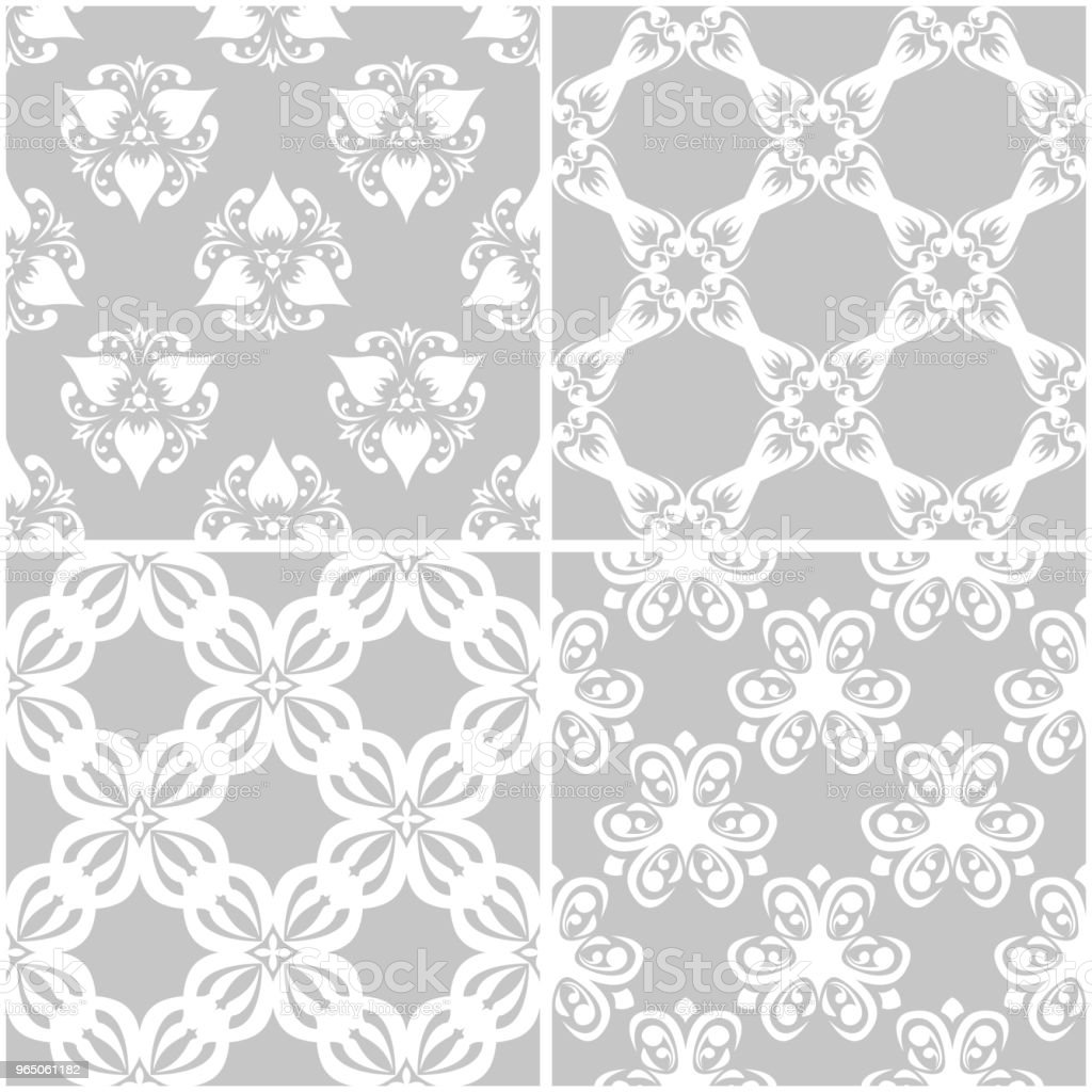 Floral patterns. Set of gray and white seamless backgrounds royalty-free floral patterns set of gray and white seamless backgrounds stock vector art & more images of arrangement