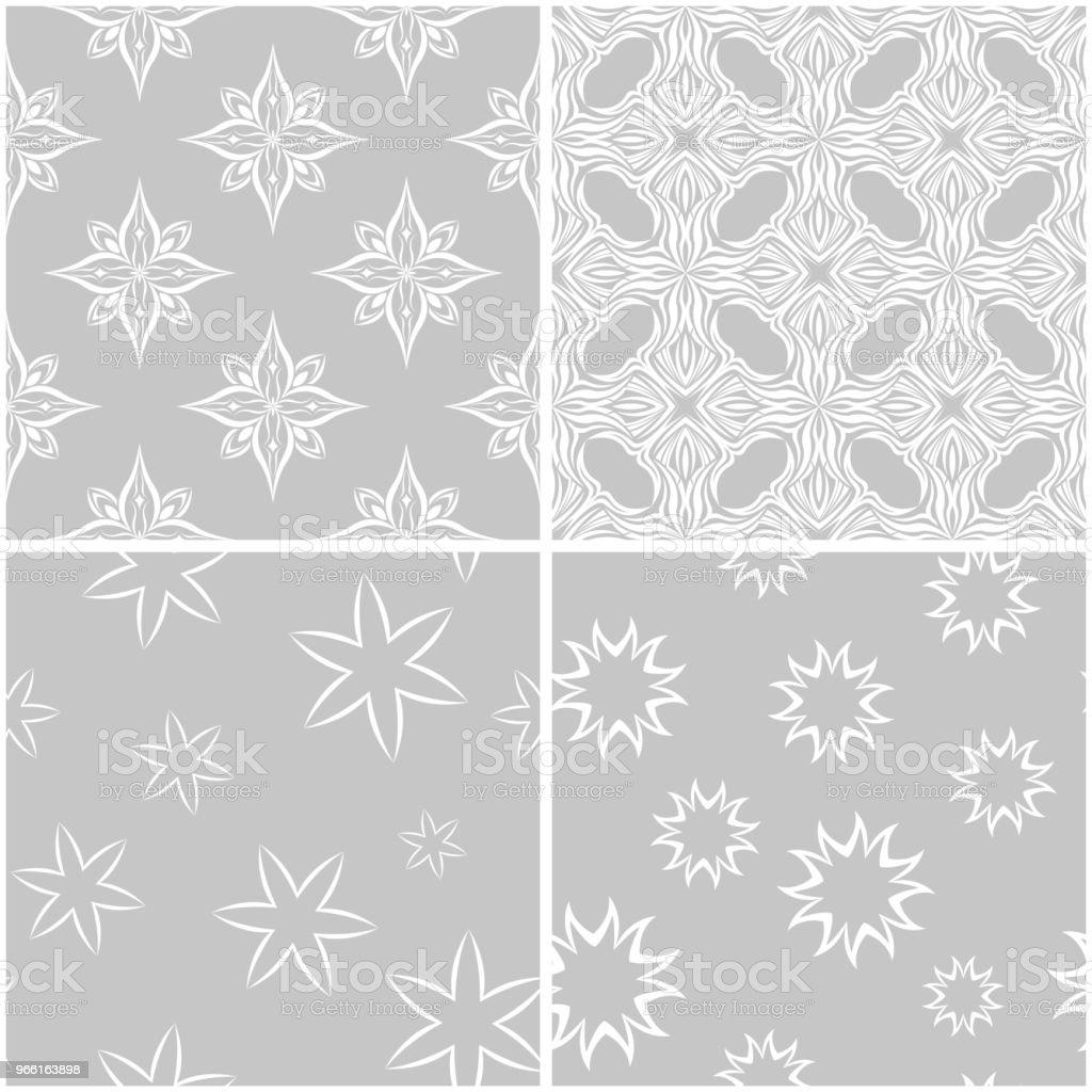 Blommiga mönster. Uppsättning av grå och vit sömlös bakgrund - Royaltyfri Arrangemang vektorgrafik