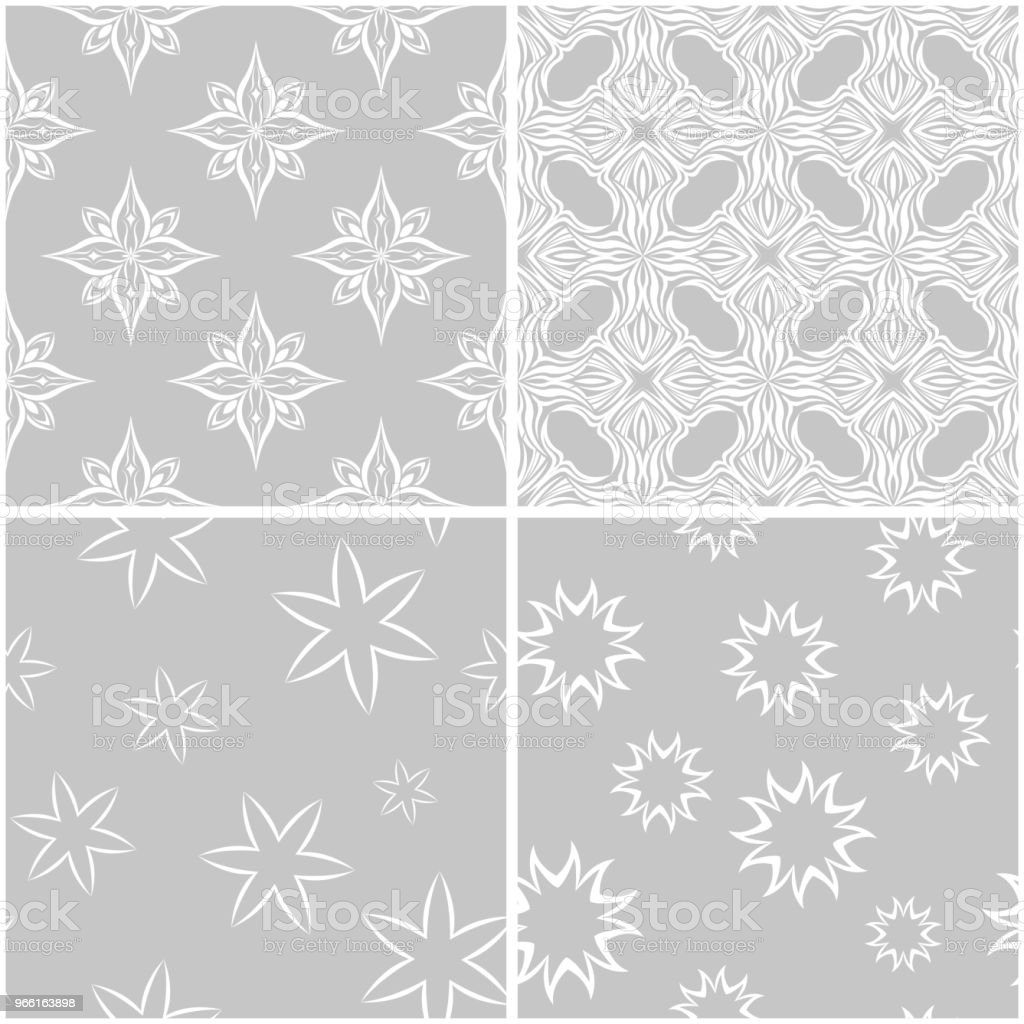 Floral patterns. Set of gray and white seamless backgrounds - Векторная графика Без людей роялти-фри