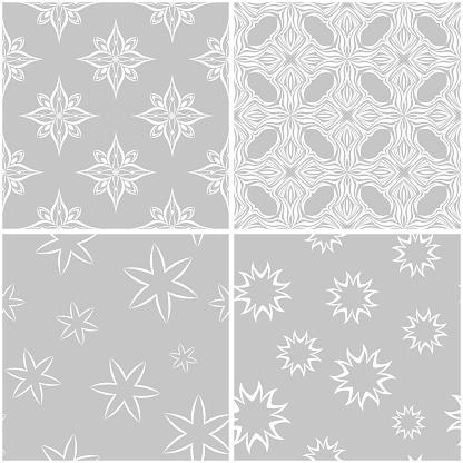 Floral Patterns Set Of Gray And White Seamless Backgrounds — стоковая векторная графика и другие изображения на тему Без людей