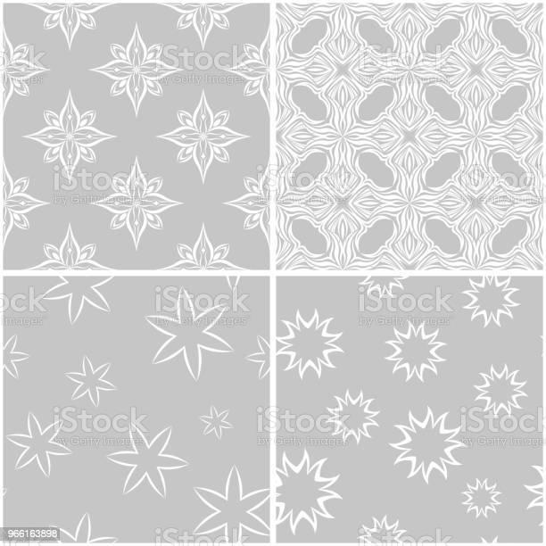 Blommiga Mönster Uppsättning Av Grå Och Vit Sömlös Bakgrund-vektorgrafik och fler bilder på Arrangemang