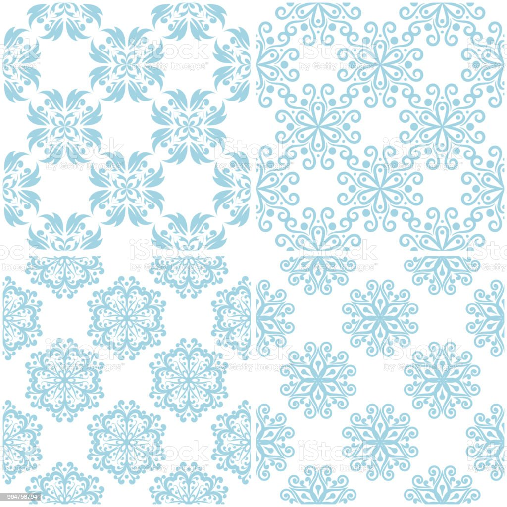 Floral patterns. Set of light blue elements on white. Seamless backgrounds royalty-free floral patterns set of light blue elements on white seamless backgrounds stock illustration - download image now