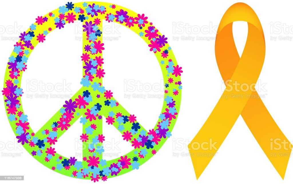 floral peace sign and ribbon. royalty-free stock vector art