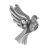 Floral Pigeon for Peace Day. Hand Drawn Dove