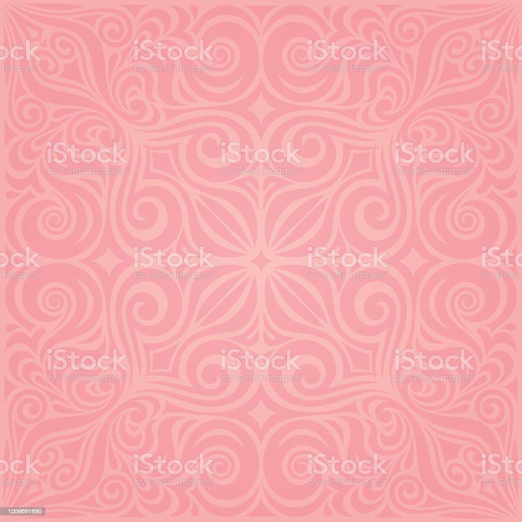 Floral Pink Vector Wallpaper Trendy Fashion Mandala Design