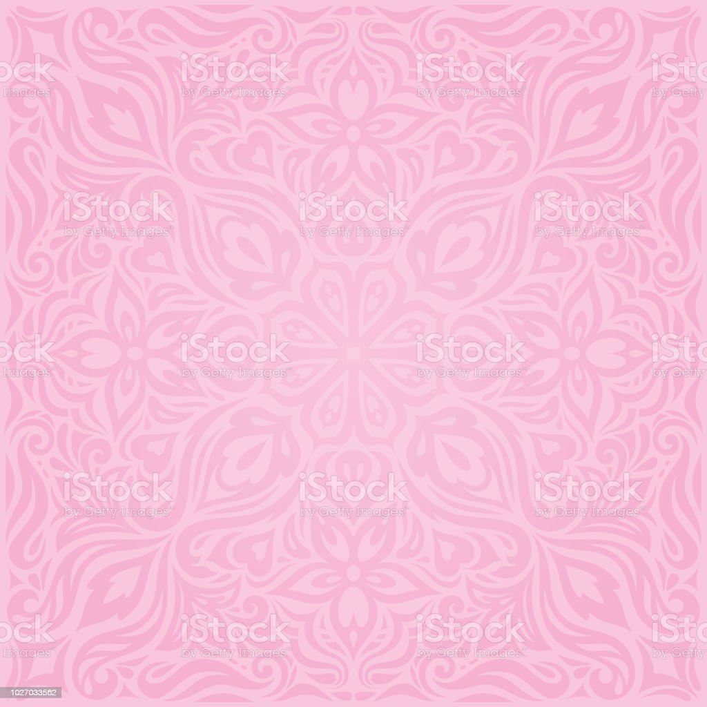 Floral Pink Vector Wallpaper Trendy Fashion Mandala Design Wedding Background Royalty Free