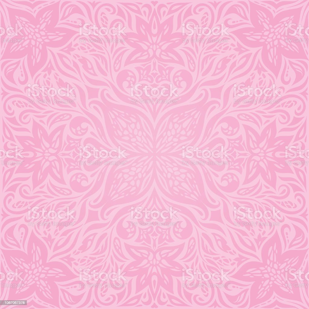 Floral Pink Vector Wallpaper Trendy Fashion Mandala Design