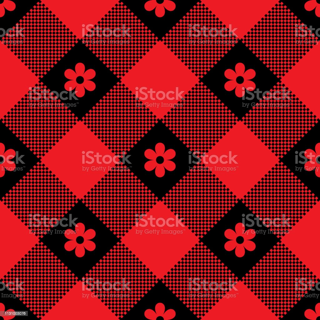 Ilustracion De Cuadros Florales Patron De Pixel De Cuadros De Cheque
