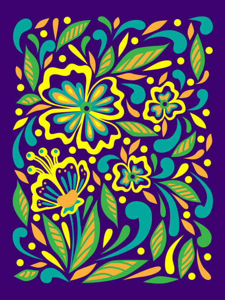 639102896bca9 Floral Print Spring And Summer Decor Doodle Style Colorful Vector ...