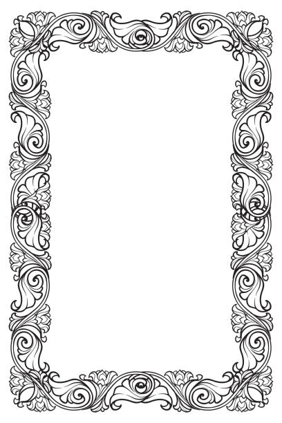 floral rectangular frame. fairy tale style decorative border. vertical orientation. black and white - book borders stock illustrations