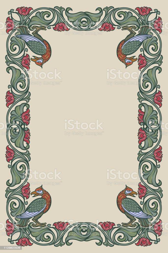 Floral Cadre Rectangulaire Avec Des Oiseaux Bordure Décorative De