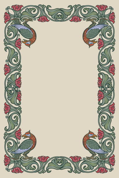 Floral rectangular frame with birds. Fairy tale style decorative border. Vertical orientation. Vintage color palette. Floral rectangular frame with birds. Fairy tale style decorative border. Vertical orientation. Vintage color palette. Hand drawn image isolated on monochrome background. EPS10 vector illustration book borders stock illustrations