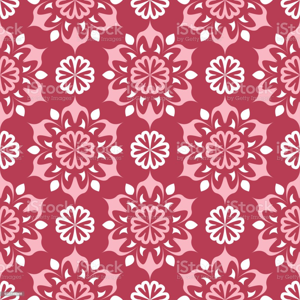 Floral Fond Transparent Rouge Avec Motif Beige Cliparts Vectoriels