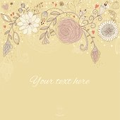 Floral retro background with hand drawn flowers