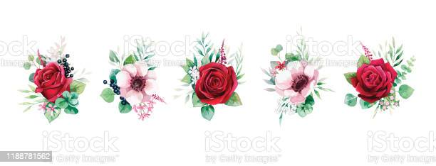 Floral romantic bouquets for wedding invite or greeting card red rose vector id1188781562?b=1&k=6&m=1188781562&s=612x612&h=kbcxjehmoqpalnrzrwqvzzkuvh16sod e9wmyuincde=