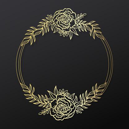 Floral rose frame wreath circle.Ink line style.Flower leaf botanical round design