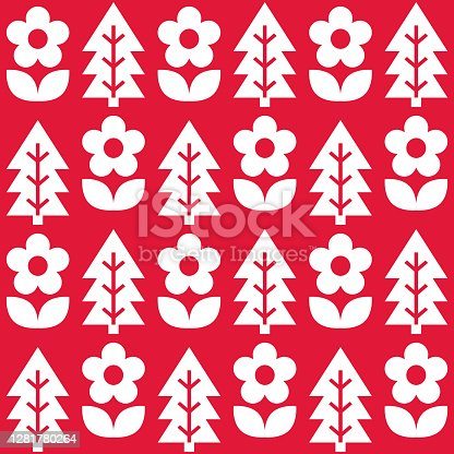 istock Floral Scandinavian Christmas folk art seamless vector pattern, white on red textile design with flowers and pine trees 1281780264