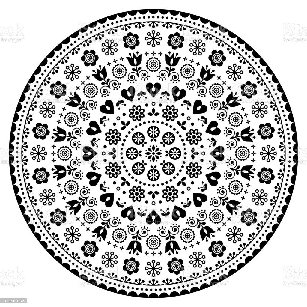 Floral Scandinavian Mandala Design Folk Art Seamless Vector Pattern