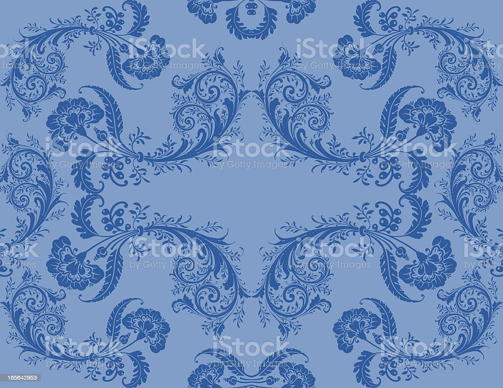 Floral Scroll Berries Wallpaper - Seamless royalty-free stock vector art