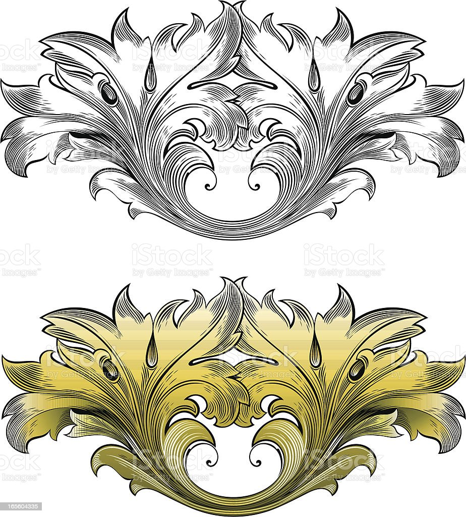 Floral Scroll Engraving vector art illustration