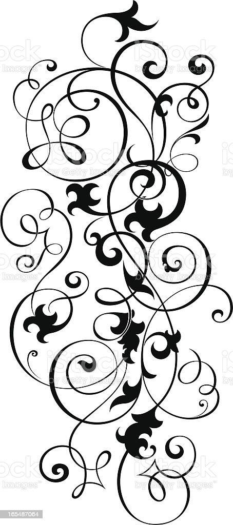 Floral Scroll vector art illustration