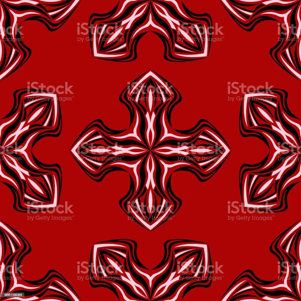 Blommig sömlös bakgrund. Svart och vitt blommönster på rött - Royaltyfri Abstrakt vektorgrafik